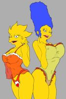 Lisa and Marge - Night Gown by OmegaBrush