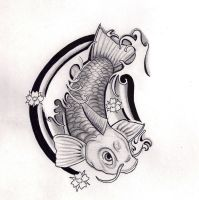 Koi Fish tattoo design Black and Grey by Hausofch