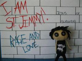 St Jimmy plushie and wall by pearlandfrog13