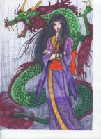 Wallflower_Sunako with Dragon by BlueFrog597