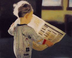Boy with Newspaper - Acrylic by BlueCat-Amber