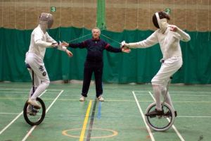 Unicycle fencing Bout by kiaero