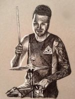 Charcoal Drawing of Matt Traynor (blessthefall) by ThrowYourRoses