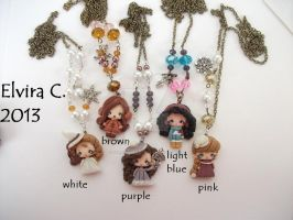 Polymer clay necklaces (available on etsy) by elvira-creations