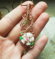 Wire wrapped copper rose pendant by Toowired