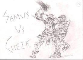Samus vs master cheif cover by Endlessfuel