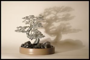 Wind swept wire tree bonsai sculpture by minskis