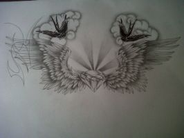 wings tattoo design by tattoosuzette