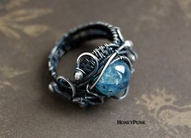 rings wire wrap silver sterling with kyanite by honeypunk