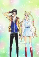 Jav0 and Usagi -sailor moon by zelldinchit