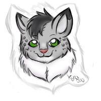 Whitey the Snowleopard :3 (Sketchy Headshot) by CKittyKat98
