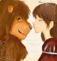 aslan and lucy by demonic-black-cat