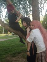 Sasuke, Sakura, with Gaara in a tree by DemiKaiVisions