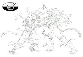 SSJ4 Gogeta vs -new- SSJ5 Rigor Sketch by MalikStudios