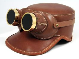 Aviator goggles in natural tan leather (and cap) by AmbassadorMann