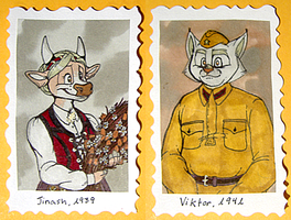 1940's Badges -- Jinash + Viktor by Geistlicher