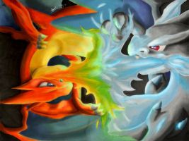Mega Charizards Clash by Kundu