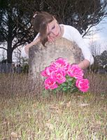 draped over grave - w. flowers by shnarfle-stock