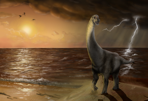 Tha sauropod and the storm by Carlosdino