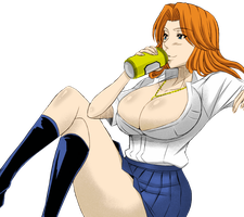 Rangiku drinking beer by Wowauwero