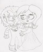 Chucky and Tiffany drawing by Twisted-G