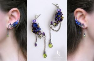 Velvet night ear pins by JuliaKotreJewelry
