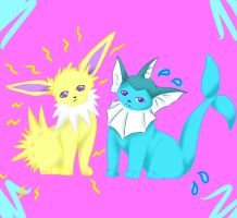 Jolteon and Vaporeon by LexisSketches