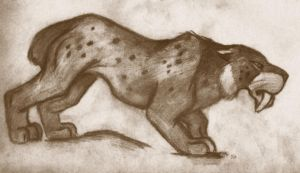 Smilodon in Sepia by roamingtigress