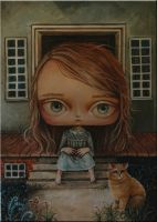 The girl and a cat by paulee1