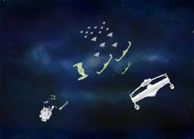 Repute vs Romulan warships by Rafe15