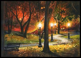 Park at night by JoaRosa