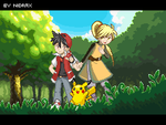 Red, Yellow and Pika poster by Nidrax