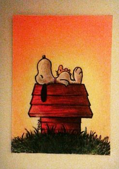 Snoopy Peanuts Sketch Card Commission by TansaKourti
