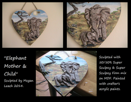 Elephant Mother and Child Wall Plaque by Blazibaby
