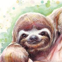 Sloth Watercolor Detail by Olechka01