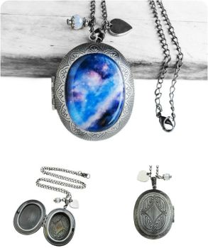 Blue and Purple Galaxy Locket Gunmetal Necklace by crystaland