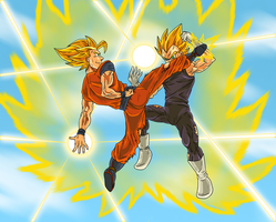 Goku Vs Vegeta by CrimsonCypher