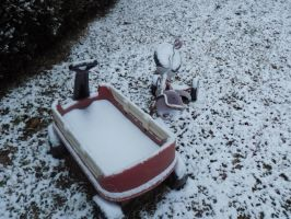 Snow in my sons wagon, 1/23/16 by Kat-Skittychu