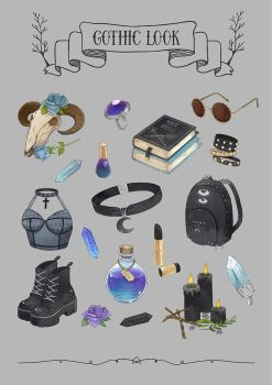 Gothic stickerpack by Moon-In-Milk