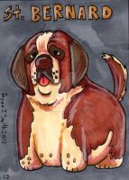 ACEO Dog 12: St. Bernard by ronnieraccoon