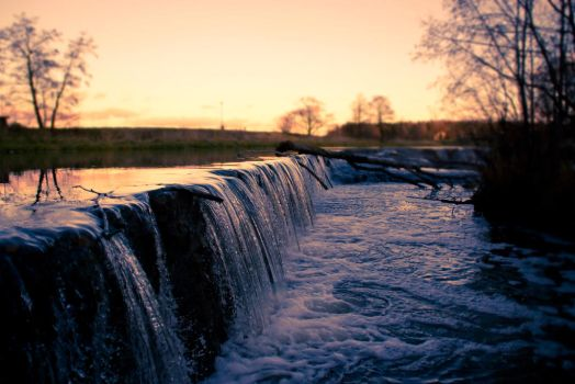 Small waterfall at dusk by AsthmaHowl