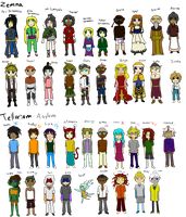 all my characters - WIP by Unknown-Variable