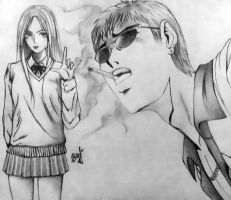 Great Teacher Onizuka. Kanzaki and Onizuka by Youlien