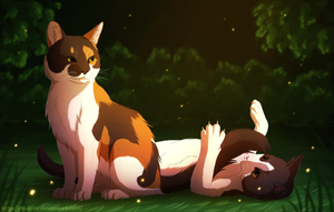 Mittens and Artemis - Commission by Chiakiro