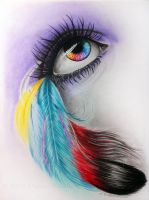 Color feather eye by WitchiArt
