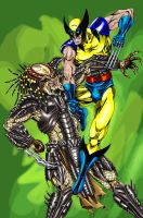 Wolverine vs. Predator by Myspiderungoliant