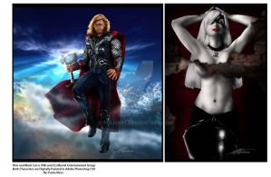 Marvel Comics Thor and Black Cat by PolHart