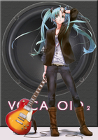 Miku with Les Paul by Eru-88