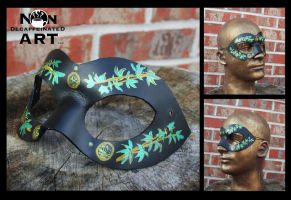 Bamboo Leaves handmade leather mask by nondecaf