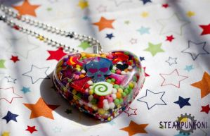 Sweet Poison - Large Heart Skull Candy Necklace 2 by SteampunkOni